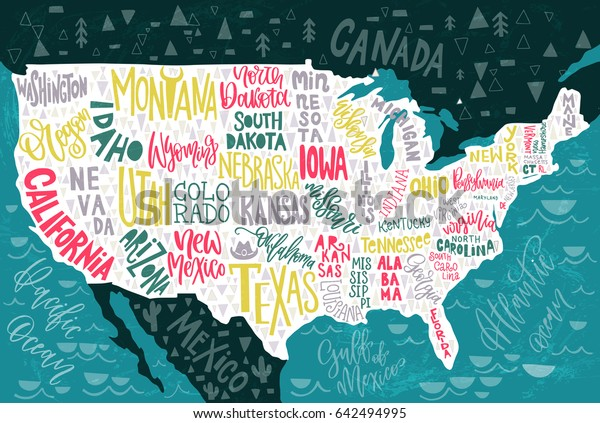 USA map with states - pictorial geographical poster of America, hand drawn lettering design for wall decoration, travel guide, print. Unique creative typography vector illustration.