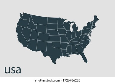 usa map vector, Abstract design vector illustration Eps 10. Navy color.High Detailed on white background.