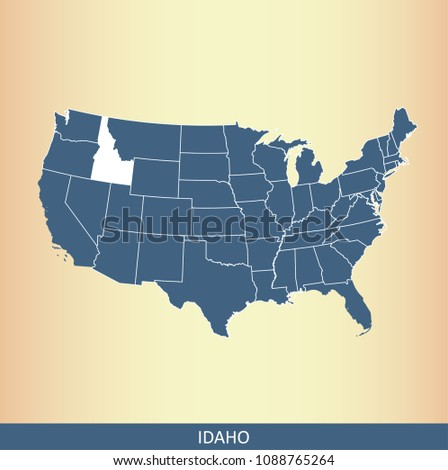 USA Map Vector Outline Highlighted State Stock Vector (Royalty Free ...