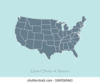 USA map vector outline illustration in blue background. Map of United States of America with states borders. US map cartography