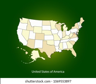 USA map vector outline illustration cartography with US capital location and name, Washington DC. Creative map of United States of America in brown color gradient on illuminated green background