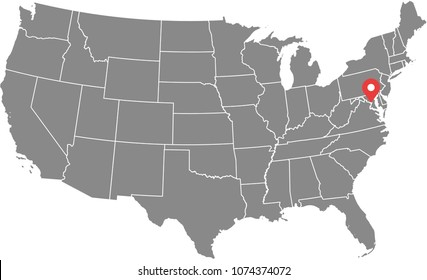 USA map vector outline illustration with states borders and capital location, Washington DC, in gray background. Highly detailed accurate map of United States of America prepared by a map expert.