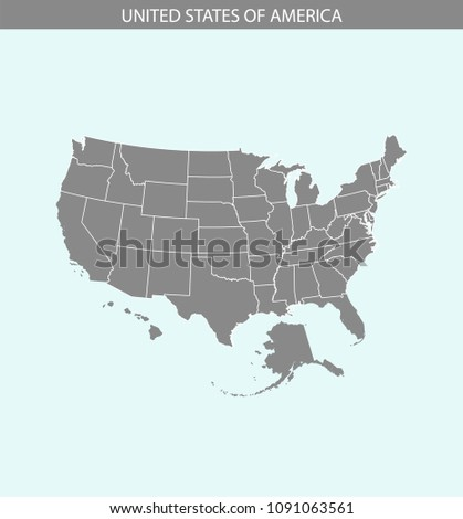 USA Map Vector Outline Illustration Cartography Stock Image ...