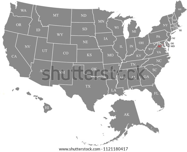 Usa Map Vector Outline Illustration Abbreviated Stock ...