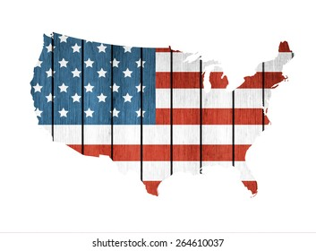 USA Map With Wooden Flag On A White Background