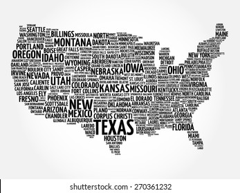 USA Map word cloud with most important cities