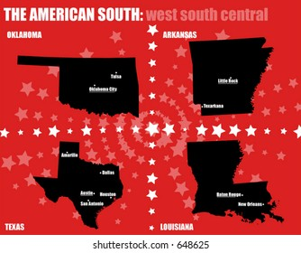 USA maps - The American South - West South Central states. Contains capital and bigger cities. All elements are separable and editable. (Vectors 18)