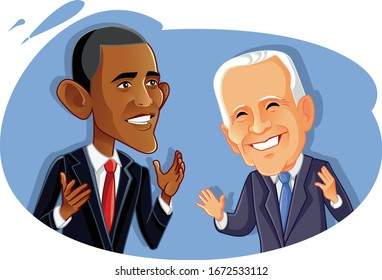 Washington¸ USA, March 14, Barak Obama and Joe Biden Vector Caricature. Vector drawing of president Obama and his vice president