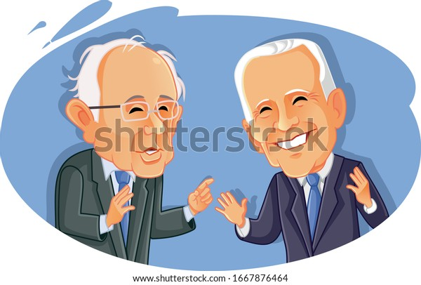 Washington¸ USA, March 9, Bernie Sanders Versus Joe Biden Vector Caricature