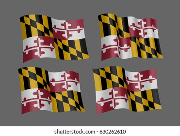 USA Maryland vector flags. A set of 5 wavy 3D flags created using gradient meshes. Design Element. Isolated on gray background.