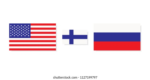 Usa to meet Russia in Helsinki. East and west meeting in Finland. illustration of three flags with white background.