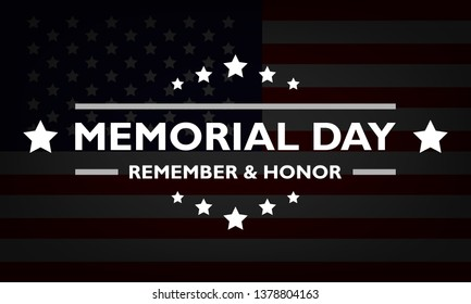 USA Memorial Day. American flag banner in dark colors with stars and text. Remember and honor. Stock vector