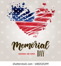 USA Memorial day background. Remember and honor. Handwritten lettering text on brown background with stars pattern. Conceptual USA flag in grunge heart shape.