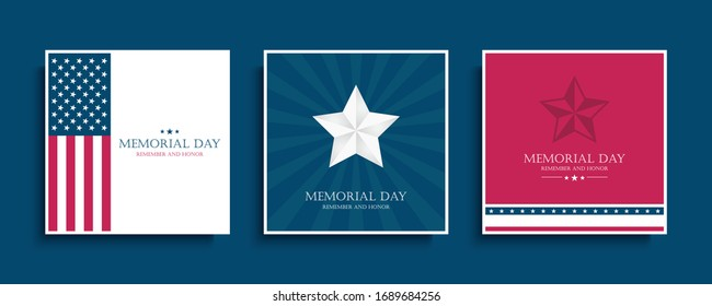 USA Memorial Day celebrate cards set with silver star and United States national flag. American national holiday vector illustration.