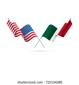 USA and Mexico flags. Vector illustration.