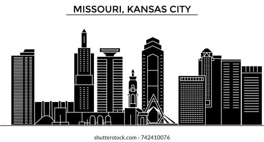 Usa, Missouri, Kansas City architecture vector city skyline, travel cityscape with landmarks, buildings, isolated sights on background
