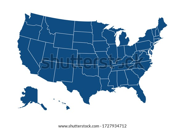 USA modern map with federal states in blue color isolated on white background vector illustration eps 10