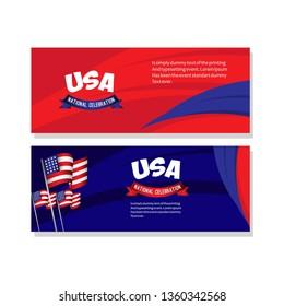 USA National Celebration Poster Vector Template Design Illustration