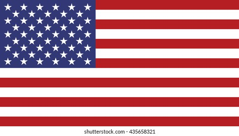 USA national flag. American star-spangled banner in proportion of 10 by 19 and colors correspond G-spec government specification. Vector illustration in EPS8 format.