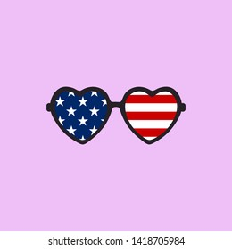 USA national flag in cool fashionable heart shaped ladies sunglasses vector illustration. 4th of july special love shaped ladies sunglasses with american flag illustration.