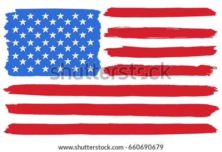Usa National Flag Paint Brush Stokes Stock Vector Royalty Free