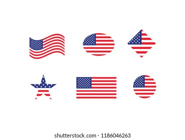 USA national flag set country flag state symbol United states