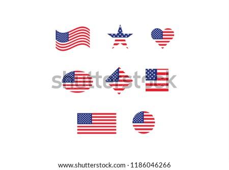 Usa National Flag Set Country Flag Stock Vector Royalty Free