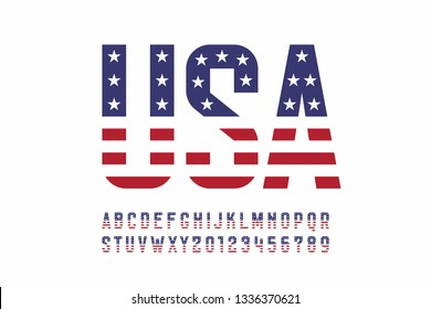 USA national flag style font, alphabet letters and numbers vector illustration