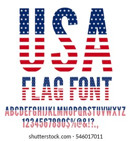 USA National Flag stylized flat Font. Alphabet and Numbers in Vector Set