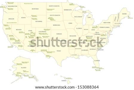 USA National Park Map Stock Vector (Royalty Free) 153088364 ...