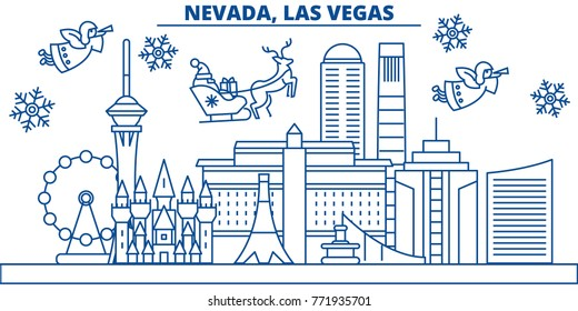 USA, Nevada , Las Vegas winter city skyline. Merry Christmas and Happy New Year decorated banner. Winter greeting card with snow and Santa Claus. Flat, line vector. Linear christmas illustration