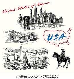 USA, New York, Washington - hand drawn collection