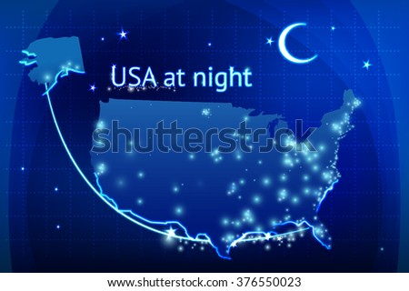 Map Of Usa At Night.Usa Night Vector Map Stock Vector Royalty Free 376550023
