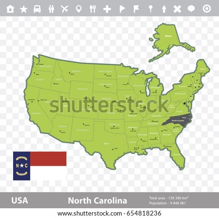 USA North Carolina State Map Flag Stock Vector (Royalty Free ...