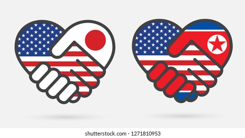 USA, North Korean, Japan Heart handshake Icons