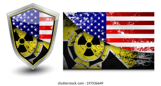 USA nuclear shield vector illustrations