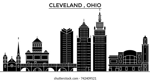 Usa, Ohio Cleveland architecture vector city skyline, travel cityscape with landmarks, buildings, isolated sights on background