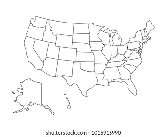 USA outline map. detailed isolated vector country border contour map on white background.