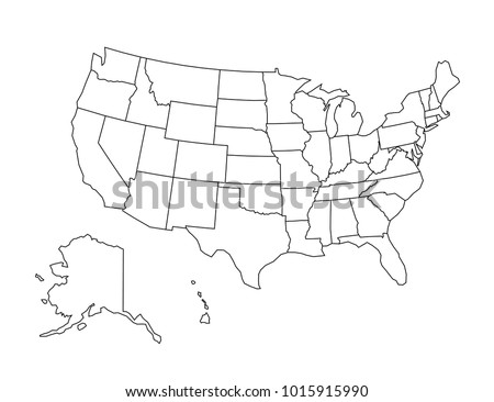 USA Outline Map Detailed Isolated Vector Stock Vector (Royalty Free ...