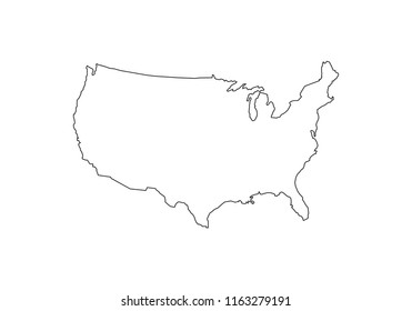 USA outline map national borders country shape