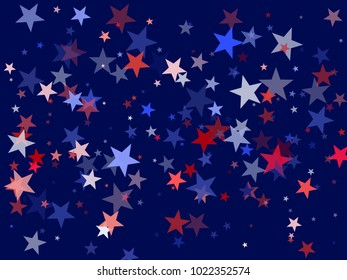 USA Patriot Day background with star dust flying.  Holiday confetti in US flag colors for President Day. Red blue white stars American patriotic banner. July 4th stardust confetti.