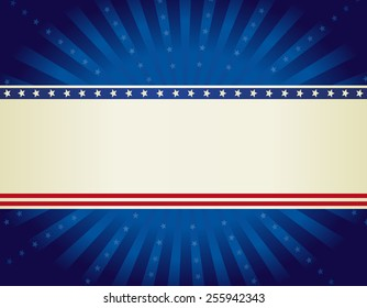USA patriotic 4 th of july background design with stars and stripes with star burst