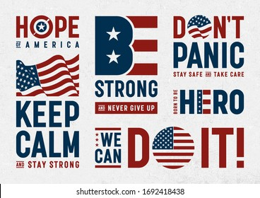 USA Patriotic Motivation Typography And Logos Set. EPS10 vector illustration with transparency.
