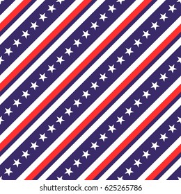 USA patriotic seamless pattern with diagonal stripes and stars