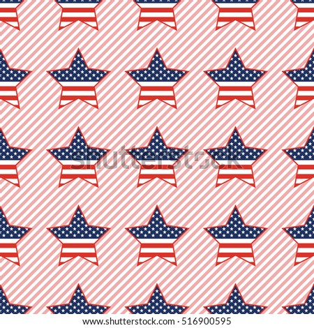 USA patriotic stars seamless pattern on red stripes background. American patriotic wallpaper with USA patriotic