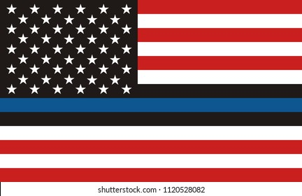Usa Police Flag. American Flag with Thin Blue Line