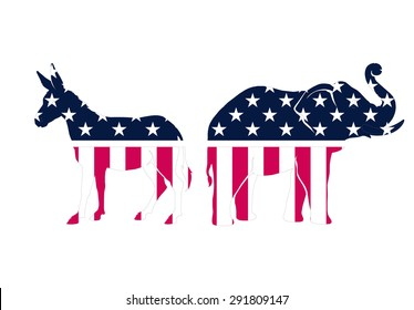USA political parties symbols: democrats and repbublicans vector illustration on white background