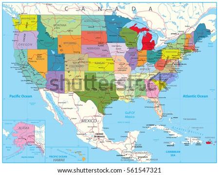 USA Political Road Map Roads Water Stock-Vrgrafik (Lizenzfrei ... on