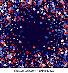 USA President Day background with star dust.  Holiday confetti in US flag colors for Independence Day. Red blue stars American patriotic banner. July 4 stardust elements on blue.