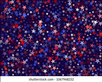 USA President Day background with star dust.  Holiday confetti in US flag colors for President Day. Red blue stars flying American patriotic graphics. July 4th stardust confetti.